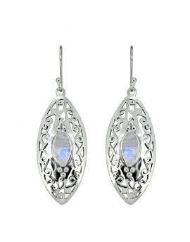 Rainbow Moonstone Solid 925 Sterling Silver Dangle Earrings