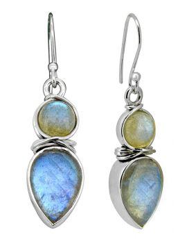 Labradorite Earrings Solid 925 Sterling Silver Women Dangle Jewelry