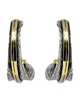 Solid 925 Sterling Silver Brass Stud Earrings Jewelry