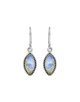 "1 1/2"" Moonstone Solid 925 Sterling Silver Dangle Earrings"