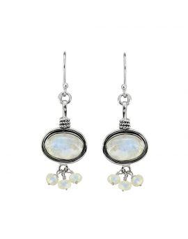 "2"" Rainbow Moonstone gemstone earrings"