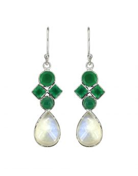 "2"" Moonstone Green Onyx Gemstone Earrings"