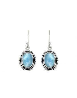 """1.45"""" Larimar Dangle Earrings Solid 925 Sterling Silver Jewelry"""