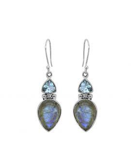 Labradorite Blue Topaz Gemstone Earrings