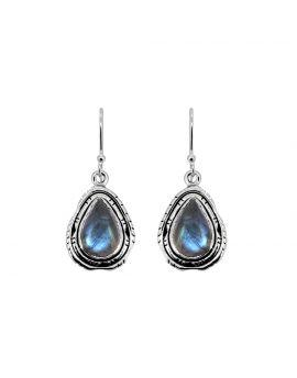 """1 1/2"""" Labradorite Solid 925 Sterling Silver Dangle Earrings"""