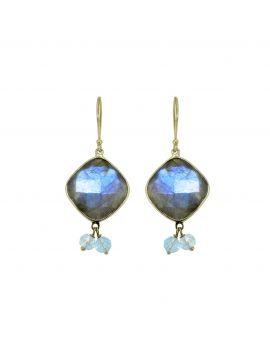 14k Yellow Gold Labradorite Dangle Earrings 17.91 ct