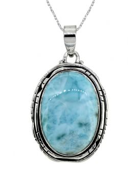 """Natural Larimar Solid 925 Sterling Silver Pendant Silver 1 3/4"""""""