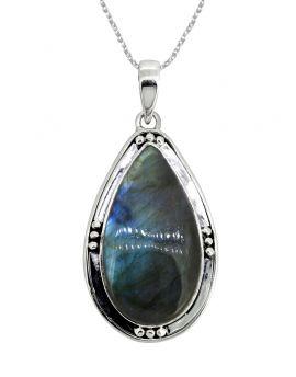 "Labradorite Solid 925 Sterling Silver Pendant 2 1/2"""