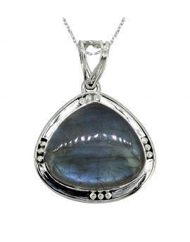 "Labradorite Solid 925 Sterling Silver Pendant 1 3/4"""