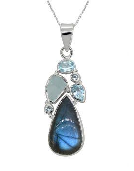 "Labradorite Gemstone Solid 925 Sterling Silver Pendant 2"""