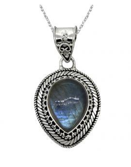 "Labradorite Solid 925 Sterling Silver Pendant 1 1/2"""