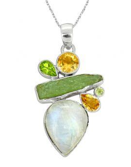 Moonstone Green Kyanite Solid 925 Silver Pendant