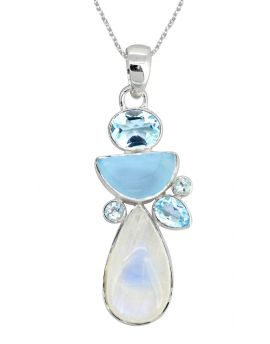 Moonstone Solid 925 Sterling Silver Pendant Necklace