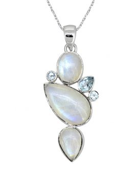 Moonstone Blue Topaz Solid 925 Sterling Silver Pendant Necklace