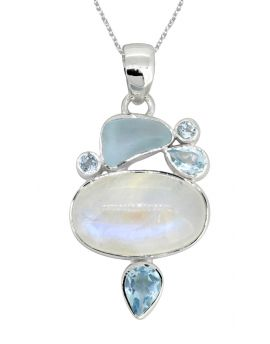 """1.65"""" Moonstone Solid 925 Sterling Silver Chain Pendant"""