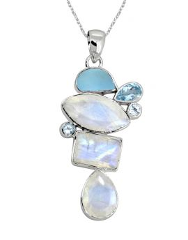 """2.15"""" Moonstone Blue Topaz Solid 925 Sterling Silver Chain Pendant"""