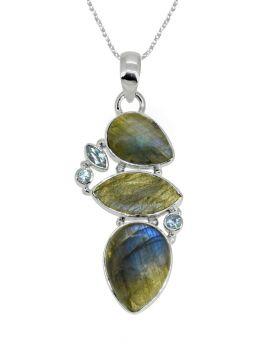 "2"" Labradorite Blue Topaz Long Chain Gemstone Pendant"