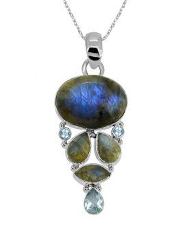 "2 1/2"" Labradorite Blue Topaz Gemstone Pendant"