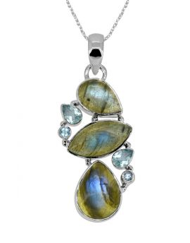 """2"""" Labradorite Blue Topaz Long Chain pendant"""