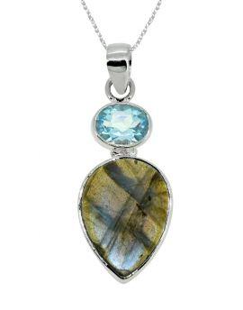 "1 3/4"" Labradorite Blue Topaz Gemstone pendant"