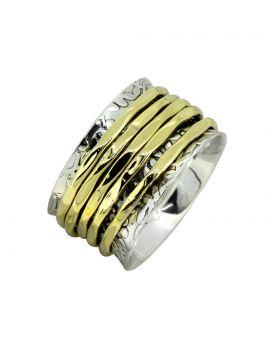 Meditation Spinning Solid 925 Sterling Silver Brass Ring