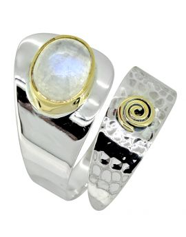 Moonstone Ring Solid 925 Sterling Silver Brass Gemstone Jewelry