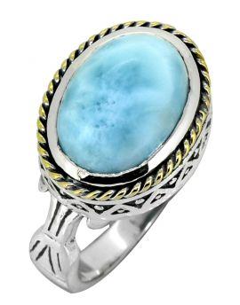 Natural Larimar 925 Sterling Silver Brass Ring