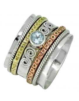 925 Sterling Silver Brass Copper Natural Blue Topaz Meditation Spinning Ring