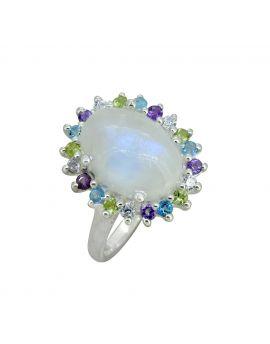 Moonstone Solid 925 Sterling Silver Flower Cluster Ring