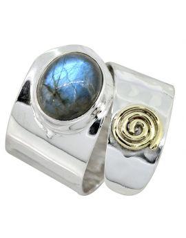 Labradorite Sterling Silver Brass Ring