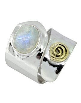 Moonstone Ring Sterling Silver Brass Gemstone Jewelry