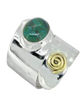 Natural Chrysocolla Ring 925 Sterling Silver Brass Gemstone Jewelry