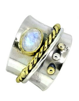 Rainbow Moonstone Ring Solid 925 Sterling Silver  Brass Gemstone Jewelry