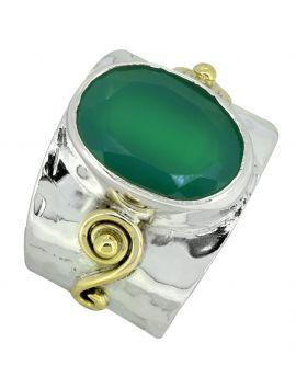 Green Onyx Ring 925 Sterling Silver Brass Designer Jewelry