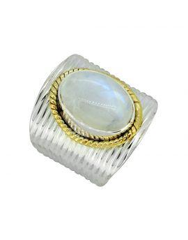 Rainbow Moonstone Ring 925 Sterling Silver Brass Gemstone Designer Jewelry