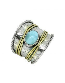 Larimar Sterling Silver Brass Ring