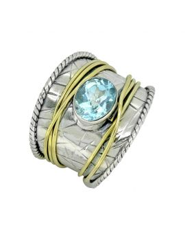 Blue Topaz Ring Solid 925 Sterling Silver Brass Gemstone Jewelry