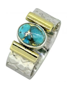 Turquoise Ring Solid 925 Sterling Silver Brass Gemstone Jewelry