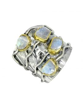 Rough Rainbow Moonstone Ring Solid 925 Sterling Silver Brass Gemstone Jewelry