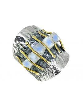 Raw Moonstone Brass Gemstone Ring