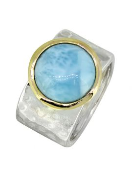 Natural Larimar Ring Solid 925 Sterling Silver Brass Gemstone Jewelry