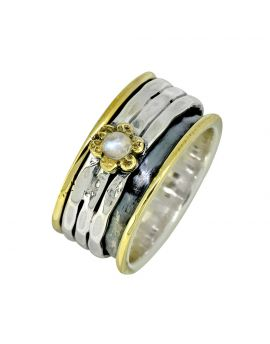 Rainbow Moonstone Spinning Ring Solid 925 Sterling Silver Brass Gemstone Jewelry