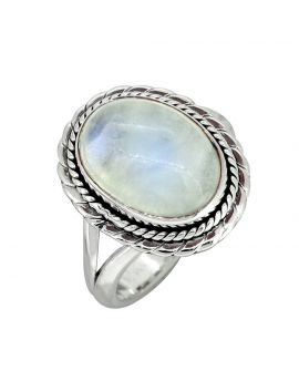 Rainbow Moonstone Ring Solid 925 Sterling Silver Gemstone Jewelry