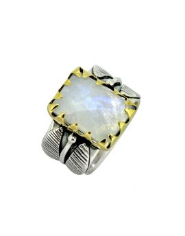 Moonstone Ring Solid 925 Sterling Silver Brass Designer Jewelry