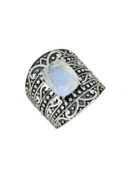 Moonstone Solid 925 Sterling Silver Designer Hammered Ring