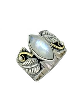Moonstone Solid 925 Sterling Silver Brass Designer Ring