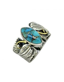 Turquoise Solid 925 Sterling Silver Brass Leaf Design Ring