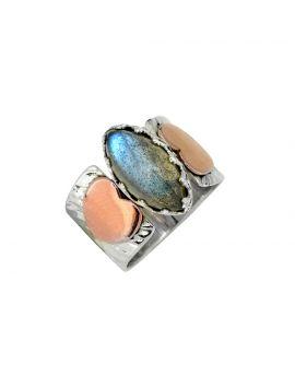 Labradorite Gemstone Solid Sterling Silver Brass Ring