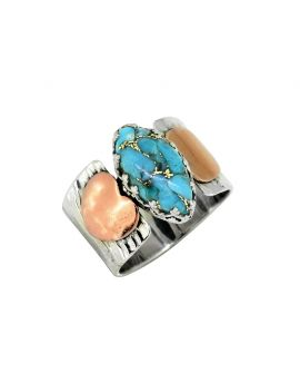 Blue Copper Turquoise Solid 925 Sterling Silver Brass Ring