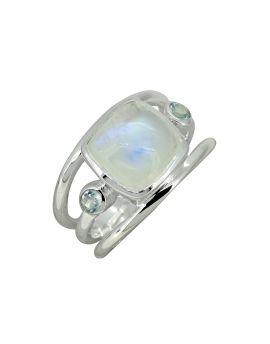 Moonstone Solid 925 Sterling Silver Split Shank Gemstone Ring
